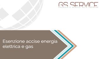 Esenzione accise energia elettrica e gas - GS Service